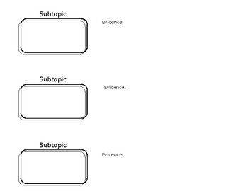 Subtopic and Evidence Graphic Organizer
