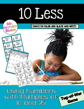 Subtract 10 Math Center Activity (Numbers Using Multiples of 10 and 25)