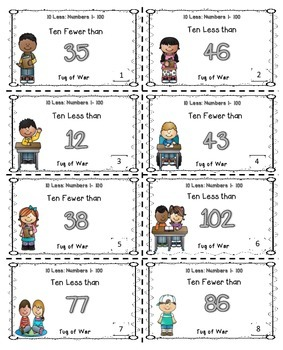 Subtract 10 Math Center Game (Numbers 1-100)
