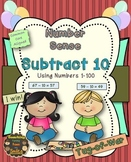 Subtract 10 Math Center Game (Numbers 1 - 100)