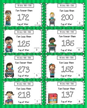Subtract 10 Math Center Game (Numbers 100 - 500)