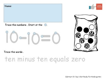Subtract 10 Worksheet Pack