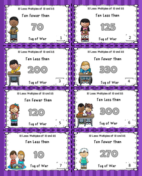 Subtract 10 Math Center Game Bundle