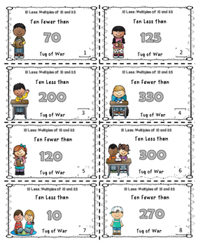 10 Less Math Center Game Bundle