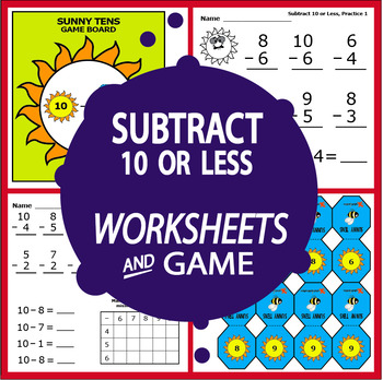 Subtract 10 or Less Worksheets and Full Color Game