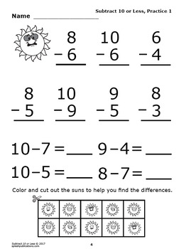 Subtract 10 or Less (10 or Less Subtraction Worksheets + Color Subtraction Game)