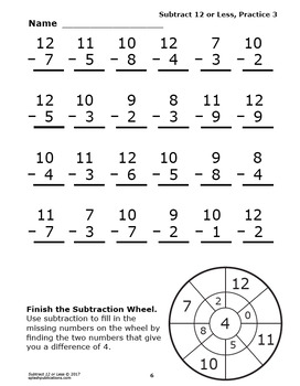 Subtract 12 or Less Worksheets and Full Color Game