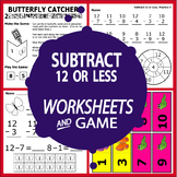 Subtract 12 or Less (12 or Less Subtraction Worksheets + Color Subtraction Game)
