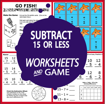 Subtract 15 or Less Worksheets + Subtraction Ten-Frame, and Subtraction Game
