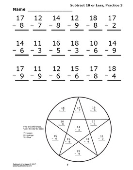 Subtract 18 or Less Worksheets, Ten-Frame, Counters, and Full Color Game