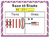 Subtract 2-digit numbers with base ten blocks