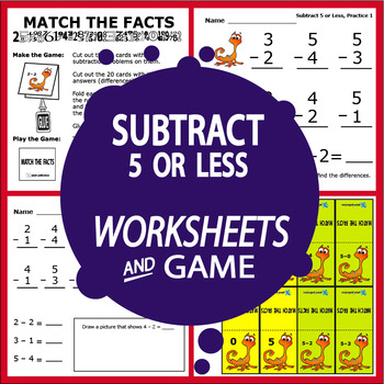 Subtraction Worksheets (5 or Less + Full Color Game)
