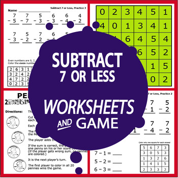 Subtract 7 or Less Worksheets and Full Color Game
