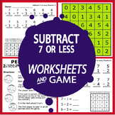 Subtract 7 or Less (7 or Less Subtraction Worksheets + Color Subtraction Game)