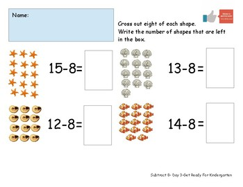 Subtract 8 Worksheet Pack