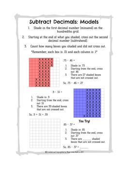 Subtract Decimals: Models and Algorithm