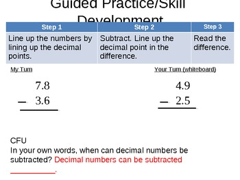 Subtract Decimals without Regrouping
