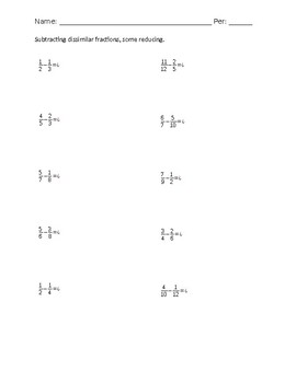 Subtract Dissimilar Fractions worksheet