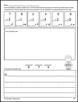 Subtract, Doodle & Write Animals A-Z  Math with an ELA Twist Subtract within 10