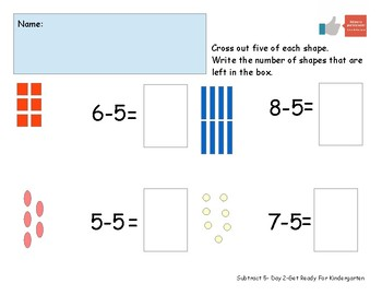 Subtract Five Worksheet Pack