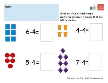 Subtract Four Worksheet Pack