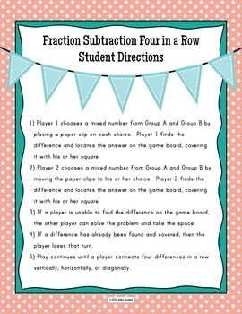 Subtract Fractions 4 in a Row Game Differentiated in 3 Levels
