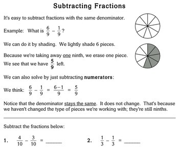 Subtract Fractions (Common Denominator), 3rd grade - Individualized Math