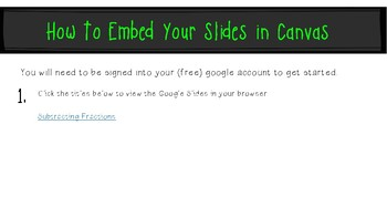 Subtract Fractions Common Denominators: Google Slides to Embed in Canvas