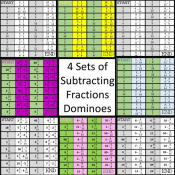 Subtract Fractions Dominoes Games