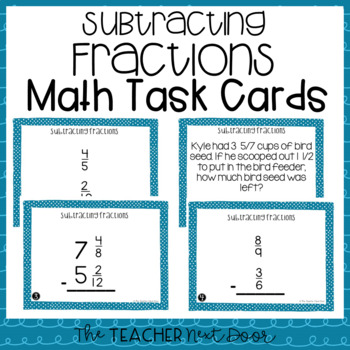 Subtract Fractions Task Cards for 5th Grade