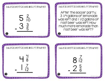 Subtract Fractions With Regrouping Task Cards for 5th Grade