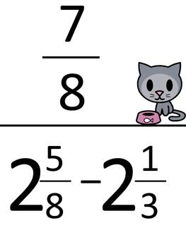Subtract Fractions and Mixed Numbers (Unlike Denominators-Harder) Scavenger Hunt