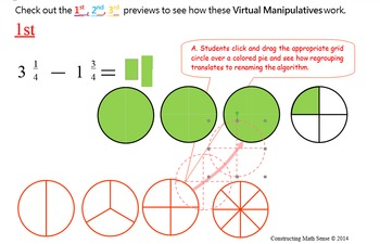 Subtract Fractions on Computer using Virtual Manipulatives in WORD