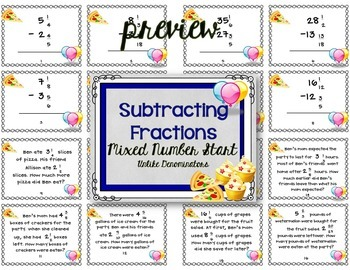 Subtracting Mixed Numbers with Regrouping | Fractions Word Problems Task Cards