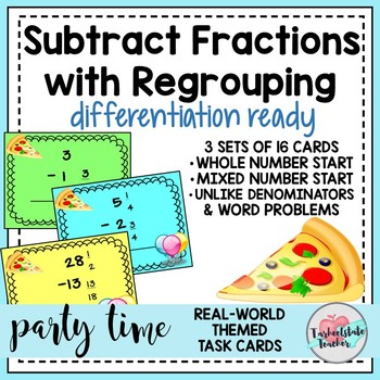 Fractions Subtracting Mixed Numbers with Regrouping and Wo