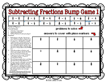 Subtracting Fractions w/ Uncommon Denominators Games