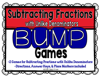 Subtract Fractions with Uncommon Denominators Games {2 Dif