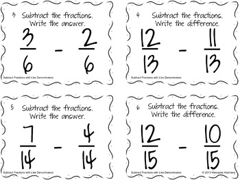 Subtract Fractions with Like Denominators