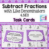 Subtract Fractions with Like Denominators Task Cards