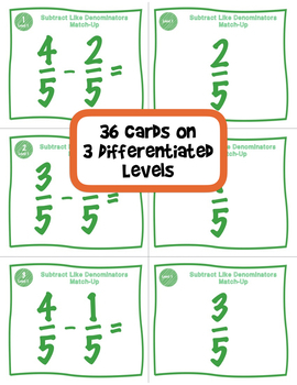 Subtract Fractions with Like Denominators Matching Game