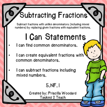 Subtract Fractions with Unlike Denominators: 5th Grade Fractions 5.NF.1
