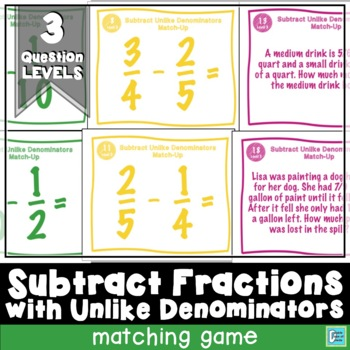 Subtract Fractions with Unlike Denominators Matching Game