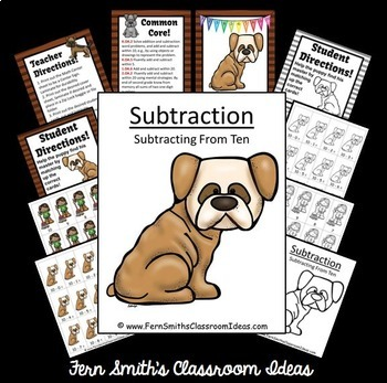 Subtraction Center Game A Quick and Easy to Prep Center Subtract From Ten Bundle