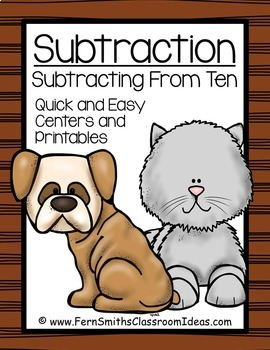 Subtraction Center Game A Quick and Easy Prep Center Subtracting From Ten Bundle
