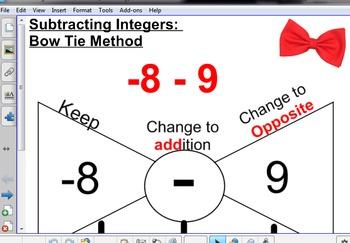 Subtract Integers Bow Tie Method