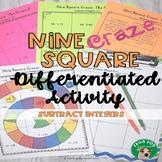 Subtract Integers Nine Square Craze