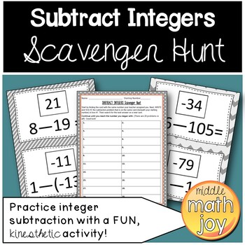 Subtract Integers Scavenger Hunt