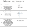Subtract Integers Student Notebook Page