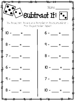Subtract It! Dice Activity