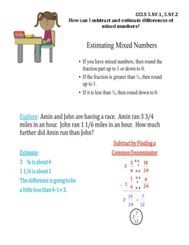 Subtract Mixed Numbers InstaChart